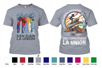 WLX - T-Shirt Cotton Philippine Surfing Tournament San Juan La Union  Beach Sand Cotton Back-to-Back Print TShirt