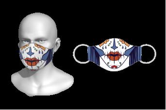 FNF - Washable Facemask, Sugar Skull Half Face, Spandex with Filter Pocket