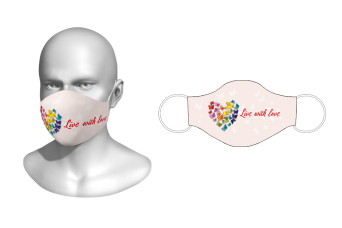 FNF - Washable Facemask, Live With Love, Spandex with Filter Pocket