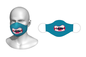 FNF - Washable Facemask, Teal Colored Cartoon Mouth, Spandex with Filter Pocket
