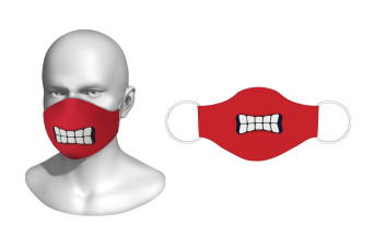 FNF - Washable Facemask, Red Colored Cartoon Mouth, Spandex with Filter Pocket