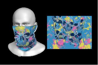 FNF - Head Gaiter, Sky Blue Skulls With Splatters, Spandex