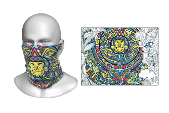Perfect Prints - Head Gaiter, Aztec Inspired Sun God, Spandex