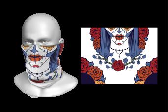 Perfect Prints - Head Gaiter, Half Face Sugar Skull, Spandex