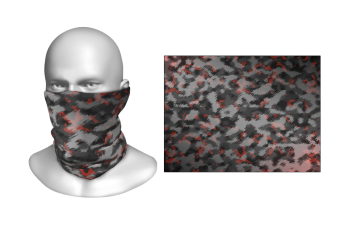 Perfect Prints - Head Gaiter, Black Camouflage With Red Patches, Spandex