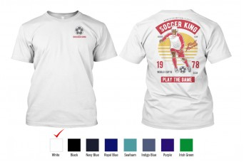 Perfect Prints - Cotton TShirt, Soccer King, Front and Back Print