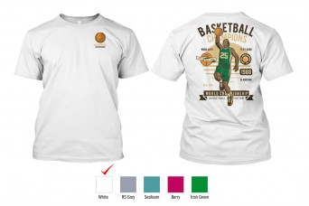 Perfect Prints - Cotton TShirt, Basketball Champions, Front and Back Print