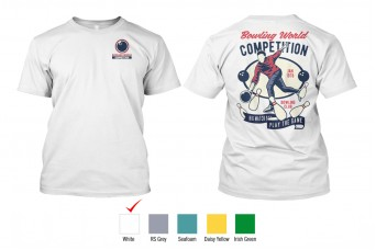 Perfect Prints - Cotton TShirt, Bowling World Competition, Front and Back Print