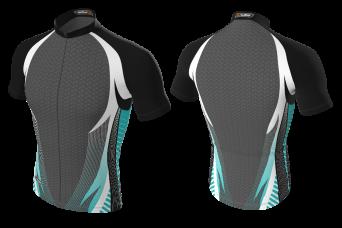 RAD - Cycling Jersey Black Cyan With Pattern