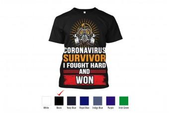 RAD - T-Shirt Cotton Front Design Corona Virus Survivor, I Survived and Won, Gas Mask, Covid